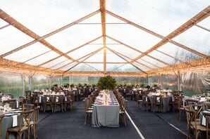 Rustic Yet Elegant Reception Tent Lined with String Lights