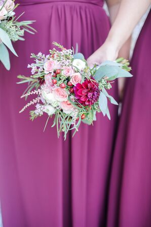 Burgundy Bouquet with Dahlias and Roses