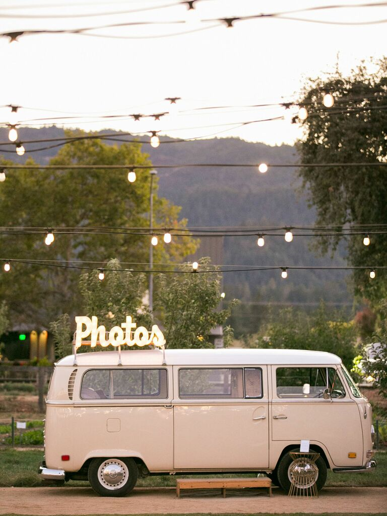 Vintage Volkswagen photo booth at wedding reception