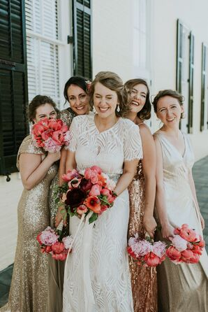 The Bride and Bridesmaids Carried Pink and Peach Peonies, Roses and Dahlias