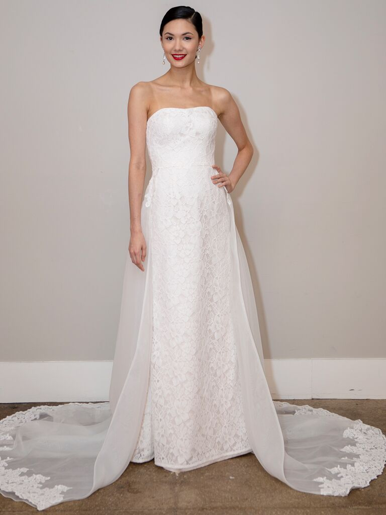 BHLDN Spring 2020 Bridal Collection strapless lace wedding dress with train