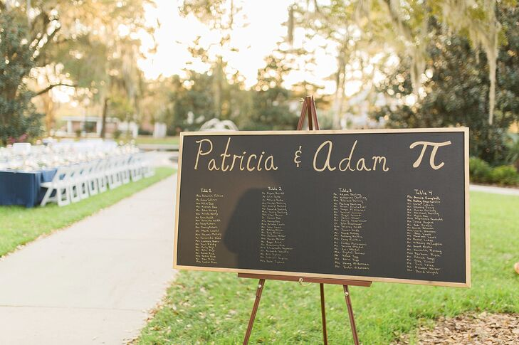 """Patricia and Adam had their outdoor ceremony and reception on Pi Day, March 14, 2015. """"This day was by complete accident. It was the only day they had available at our venue,"""" Patricia says. """"Still, we're both engineers, so we were very excited."""" The couple used this symbol across their stationery, including a hidden symbol on their save-the-date cards."""