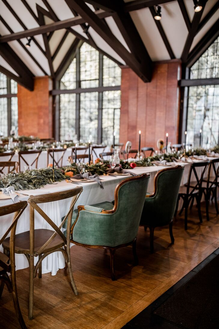 Green Velvet Sweetheart Chairs at Rustic Recepiton