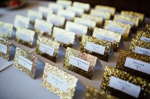 Gold Sparkly Stationery, Escort Cards