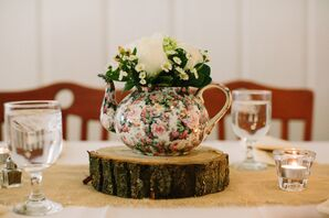 Teapot Centerpieces With Flowers