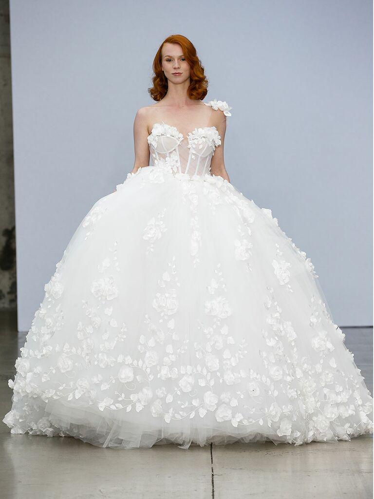 Pnina Tournai wedding dress one-shoulder ball gown