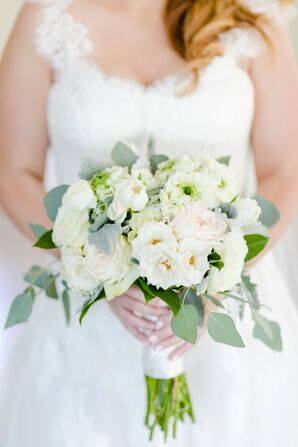 Classic White Peony and Rose Bouquet Accented by Greenery