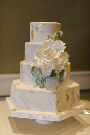 Marbled Gold Leaf Wedding Cake