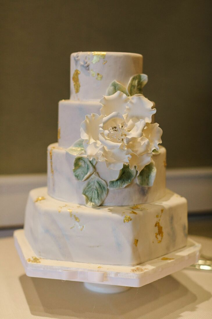 Marbled Gold Leaf Wedding Cake