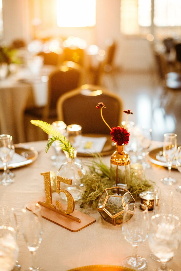 Gold Terrariums and Vases with Dahlias and Glitter Table Numbers