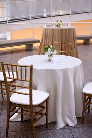 White Dining Table Gold Chiavari Chairs