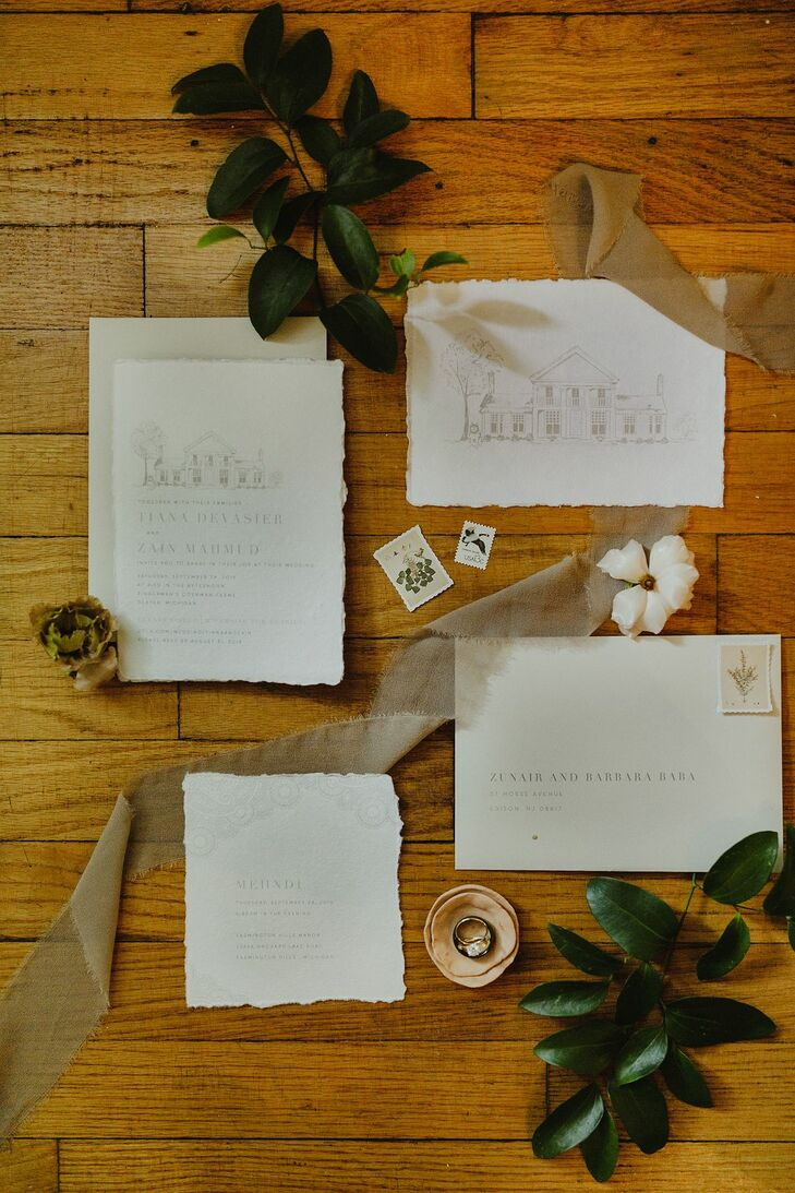 Minimal, Whimsical Invitation Suite with Ribbon
