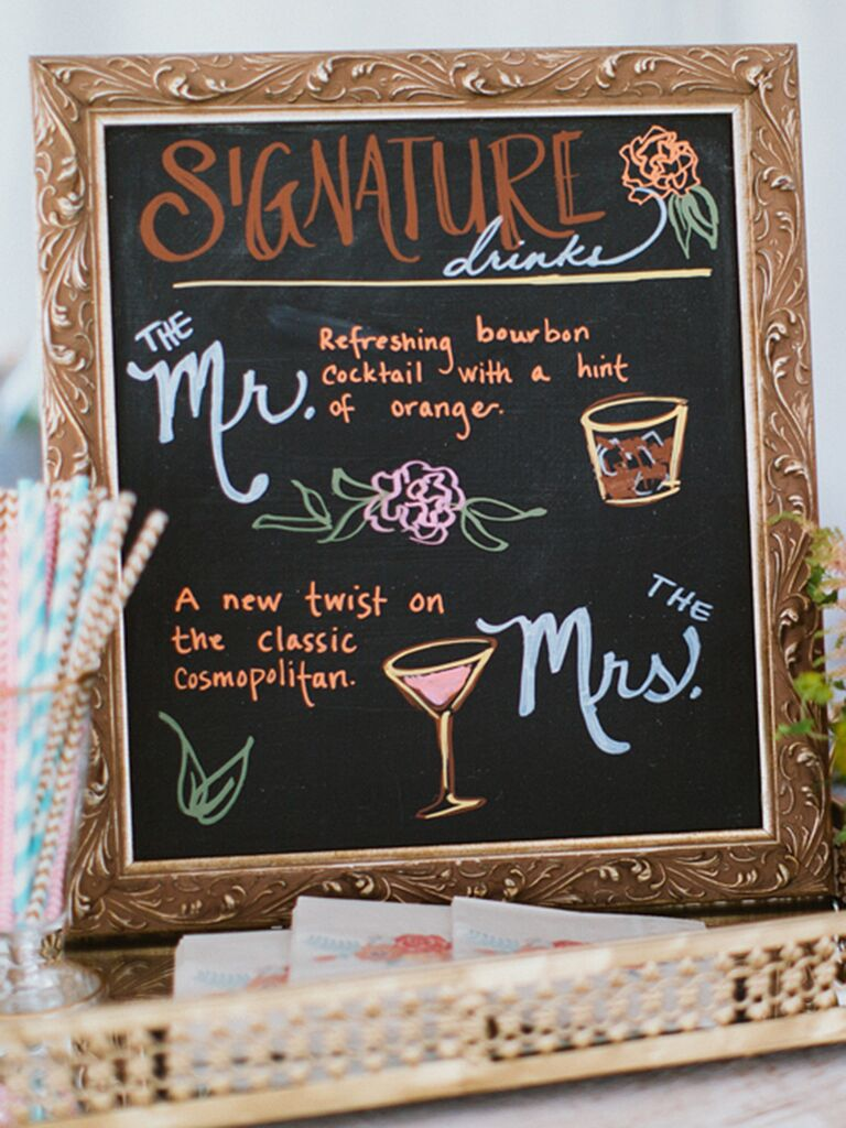 Colorful chalkboard cocktail menu