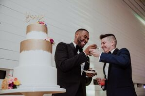 Grooms with Modern Dip-Dyed Wedding Cake