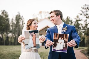 Bride and Groom with Photos of Their Parents' Weddings