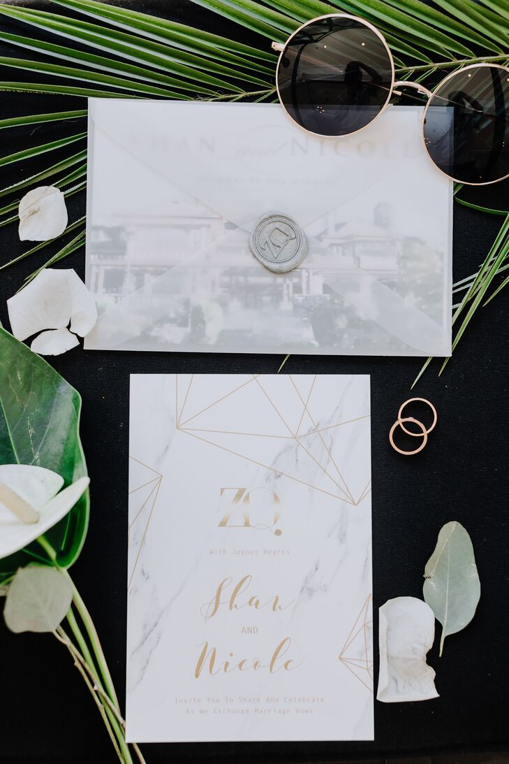 Modern Invitation with Marbled Paper and Gold Calligraphy