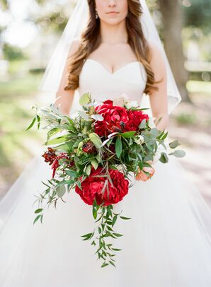 Cascading Bouquet of Greenery, Italian Ruscus and Red Peonies