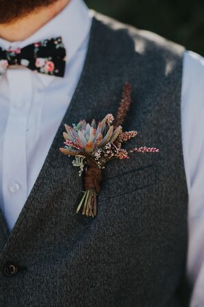 Bohemian Boutonniere with Succulent and Wildflowers