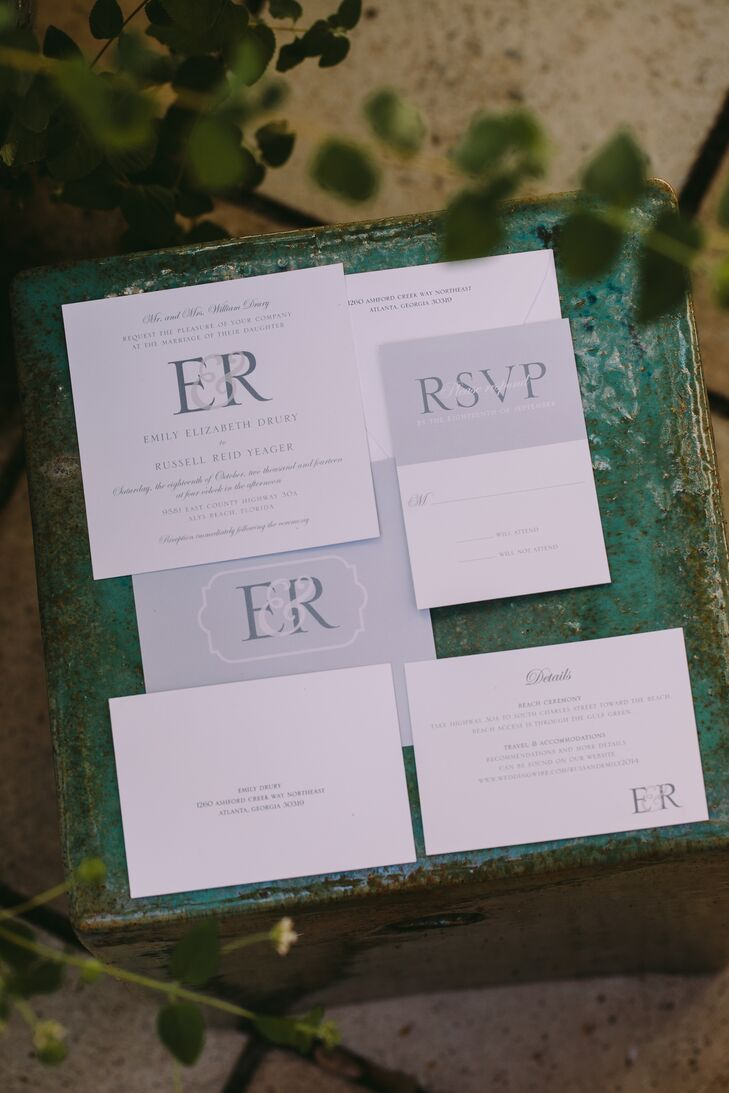 Simple White and Gray Invitation Suite