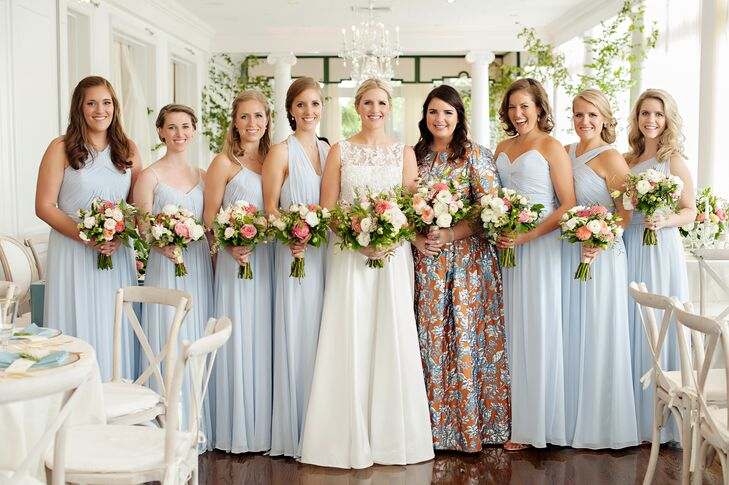 Preppy Wedding Party in Colorful, Pale Blue Dresses