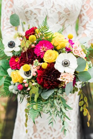 Cheery Red, Yellow, Pink and White Garden Bouquet