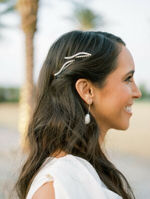 Bride with Modern Hair Clips and Pearl Earrings