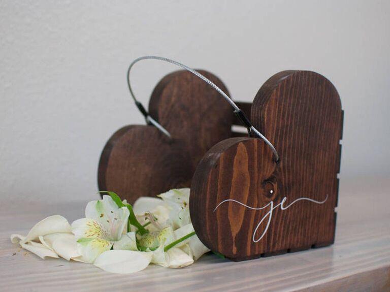 wooden heart custom flower girl basket