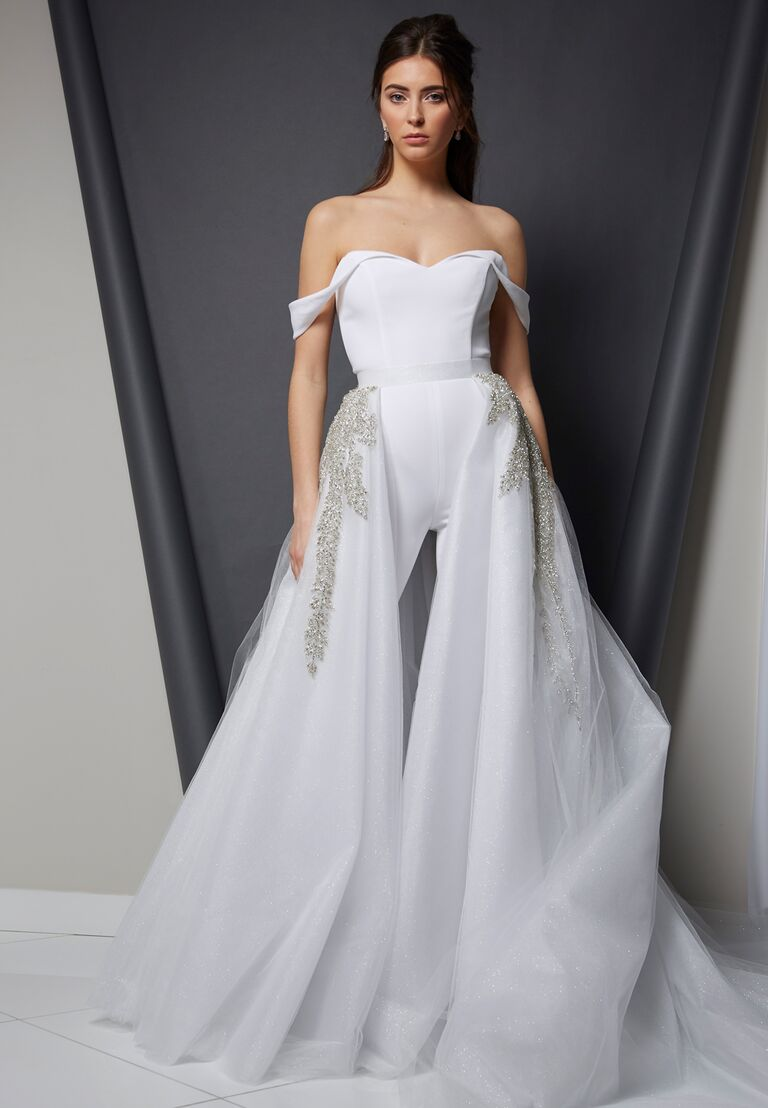 Randi Rahm Spring 2020 Bridal Collection off-the-shoulder bridal jumpsuit with overlay train