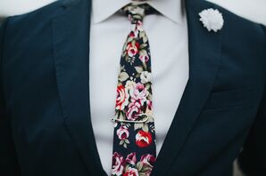 Floral Tie and Clip