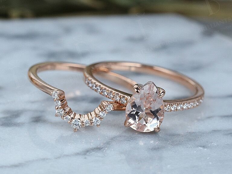 Brilliant Ring morganite and moissanite engagement ring and wedding and set in rose gold