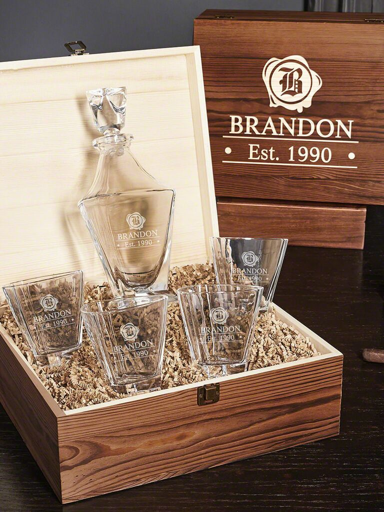 Engraved whiskey decanter 16th anniversary gift