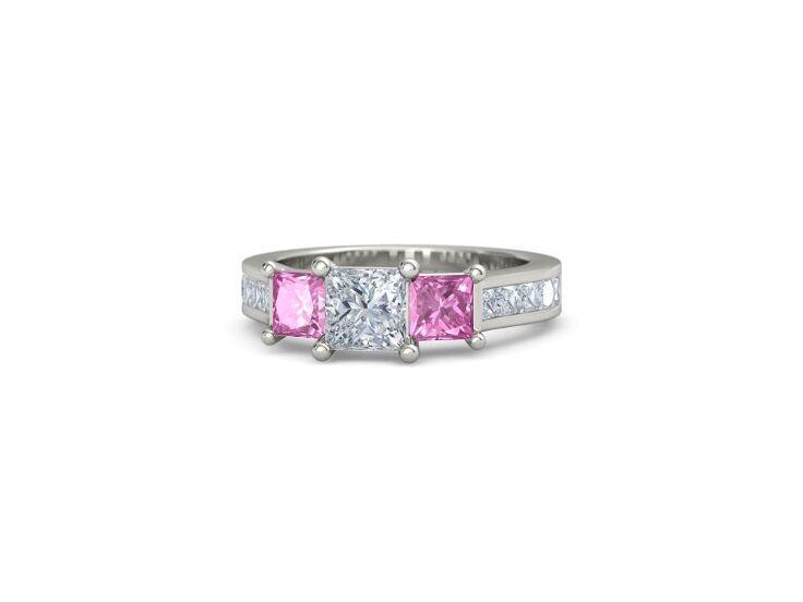 Gemvara princess-cut diamond ring with pink sapphires in palladium