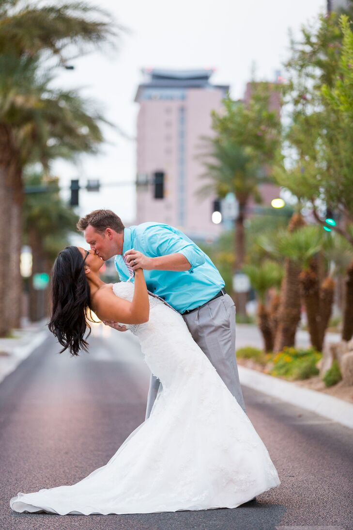 A color palette of blush pink, gold and black brought a classic feel to the Las Vegas wedding of Chris Schafer, 29, a city maintenance worker, and Hol