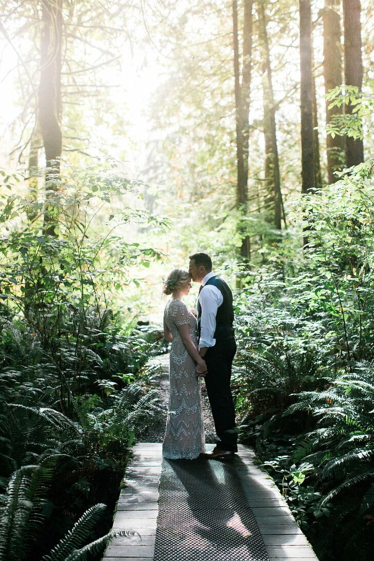 "At Alicia's request, the officiant included quotes from Henry David Thoreau's essay ""Walking"" throughout the ceremony. One particular quote—""I took a walk in the woods and came out taller than the trees""—resonated with Alicia. ""Because that is what Ryan and I would be doing."""