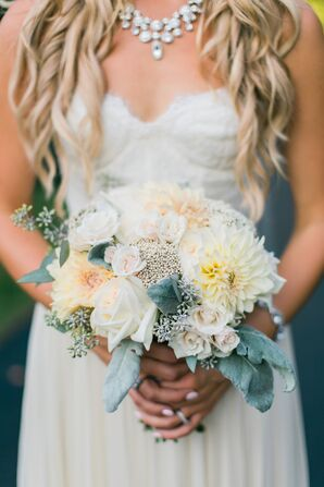Dusty Miller and Dahlia Bouquet With Seeded Eucalyptus