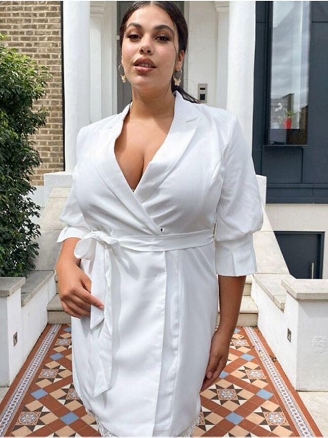 Plus size white tux-inspired mini dress