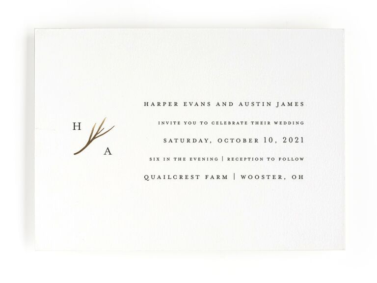 Antler rustic wedding invitation