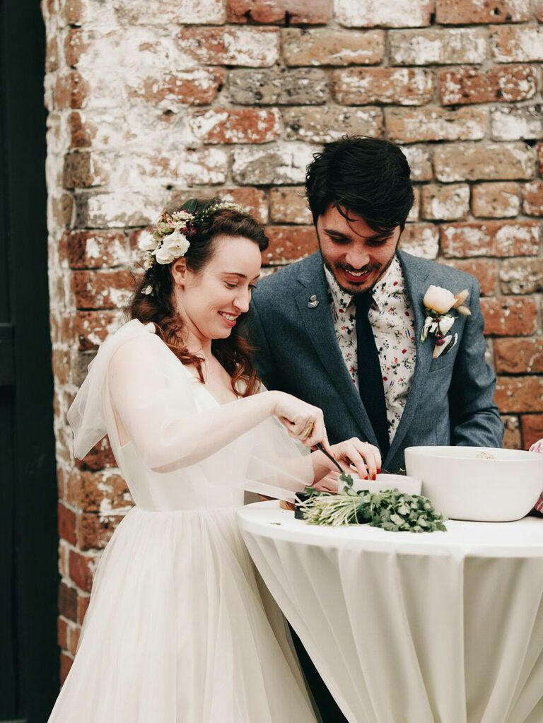 Bride and groom making guacamole during wedding unity ceremony