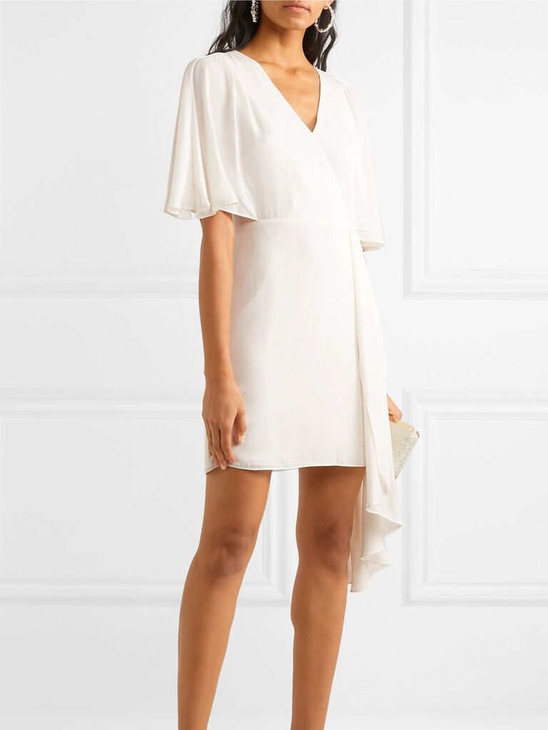 Asymmetrical white engagement party dress