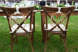 Classic Bride and Groom Signs Marking Cross-Back Chairs