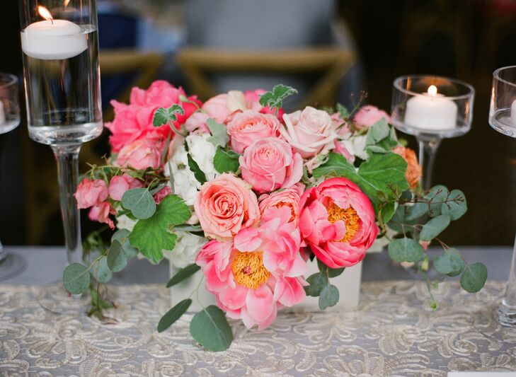 Pink Peony and Rose Centerpiece