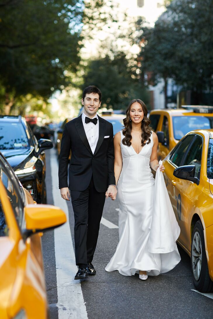 Outdoor Wedding Portraits with Taxis in New York City