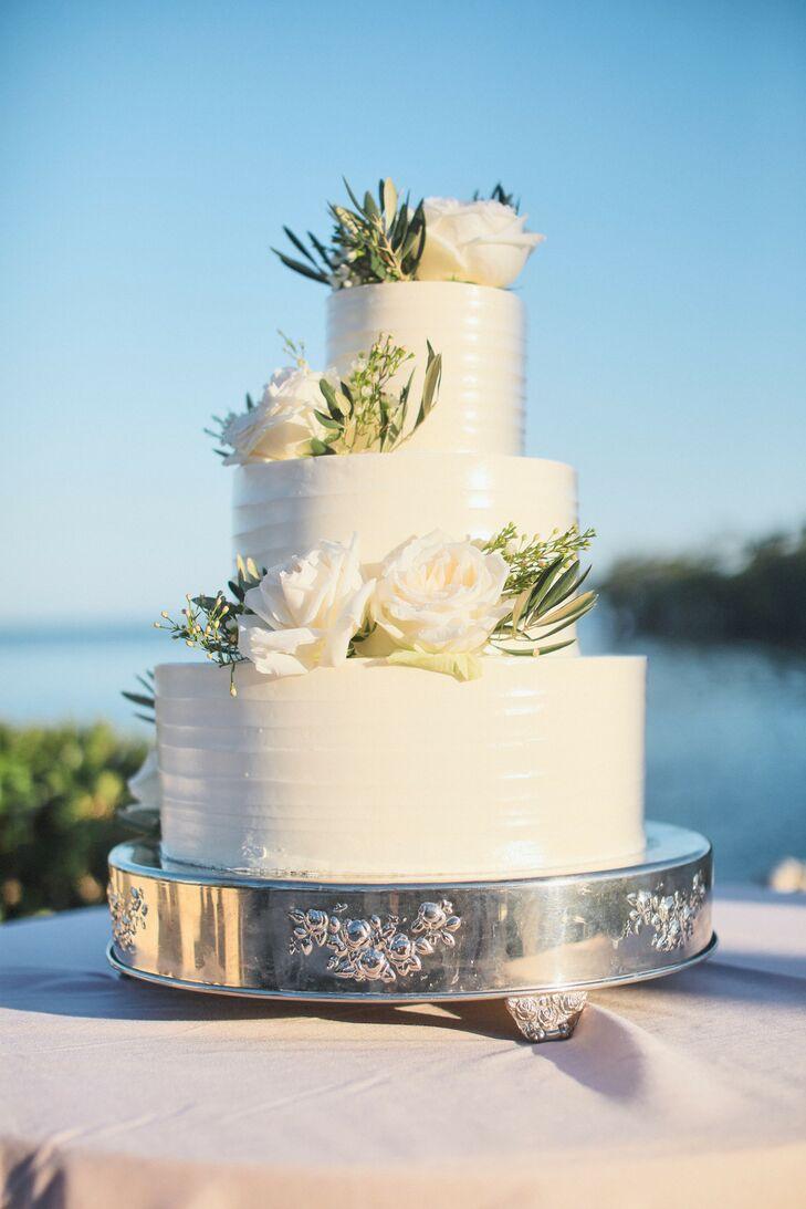 Classic Three-Tiered White Wedding Cake
