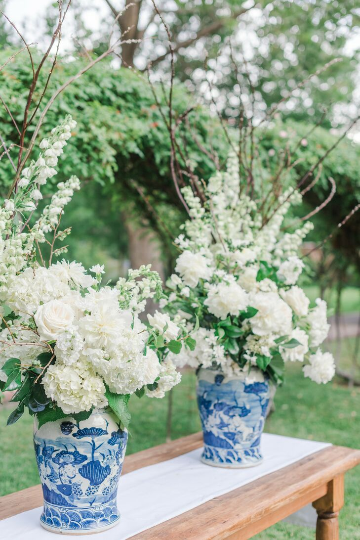 Rose and Hydrangea Arrangements in Blue Chinoiserie Vases