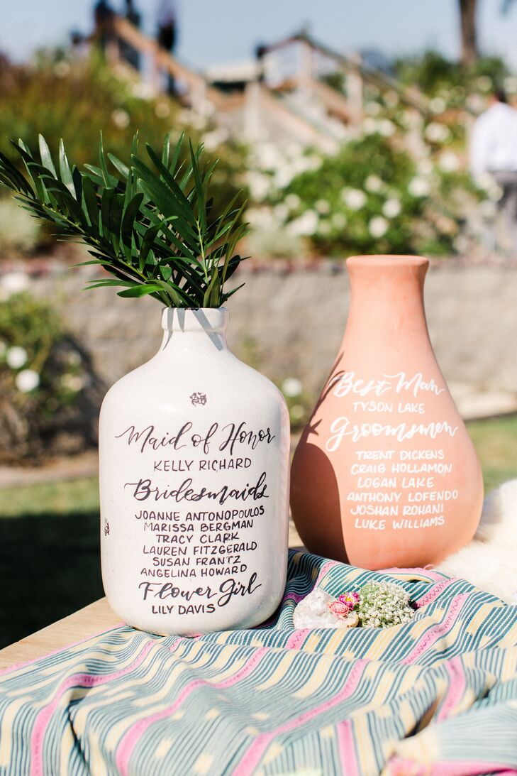 Wedding Party Roles Written on Clay Vases