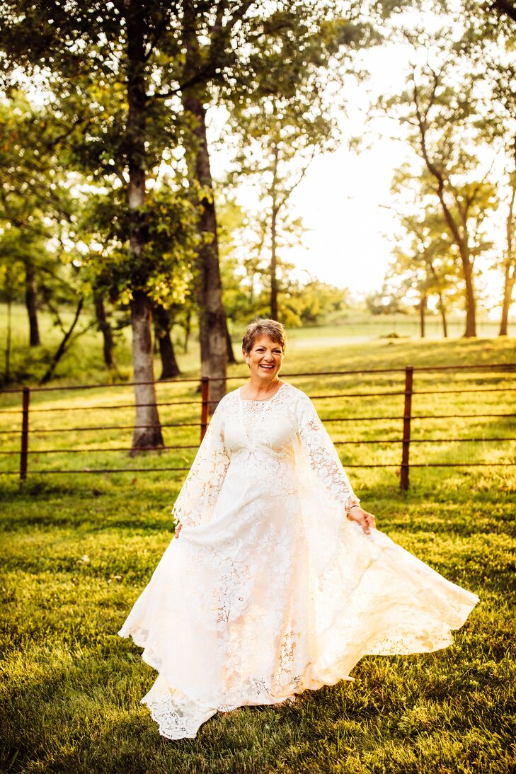 Bride with Long-Sleeve Bohemian Wedding Dress