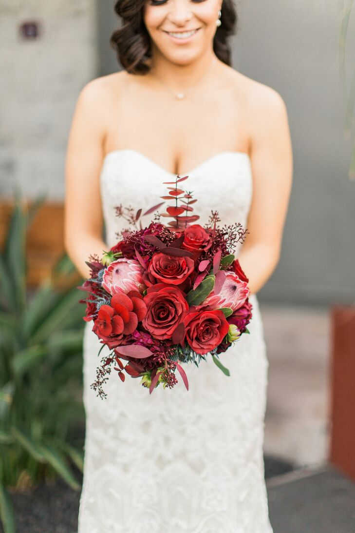 Red Bouquet with Roses, Proteas and Eucalyptus
