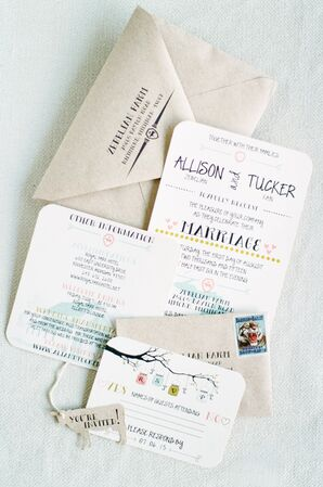 Eclectic Custom Invitations with Watercolor Illustrations