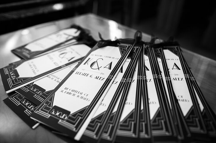 "Guests were greeted with custom black-and-white programs that were created with the couple's gilded ""Great Gatsby"" theme in mind. ""I wanted my guests to feel as though they were transported back in time,"" Kristen says of their art deco-inspired celebration."