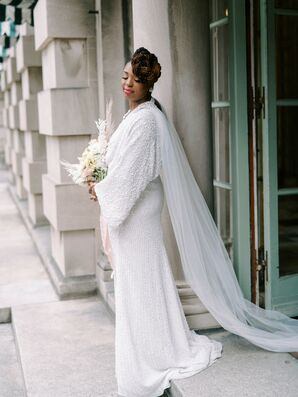 Wedding Dress with Cape for Elopement at Anderson House in Washington, D.C.